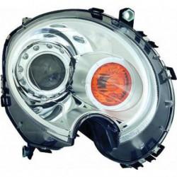 Faro fanale proiettore anteriore XENON HID sinistro MINI R56, 2006-2014, cromato freccia arancio D1S, con motorino regolazione elettrica