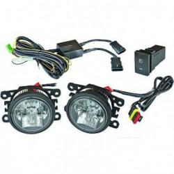 Set fari fanali fendinebbia TUNING con luce diurna LED e fendinebbia LED separati, omologati ECE R87 R19, incluso pulsante di accensione, cavi con connettore H11, istruzioni, universali misura 90x93mm