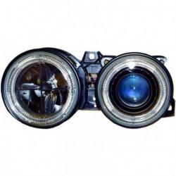 Set fari fanali proiettori anteriori BMW Serie 3 E30 1982-1994 neri con anelli ANGEL EYES cromati