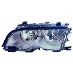 Faro fanale proiettore anteriore destro BMW Serie 3 E46 berlina Touring 1998-2001, H7+H7 fondo cromato con motorino regolazione elettrica