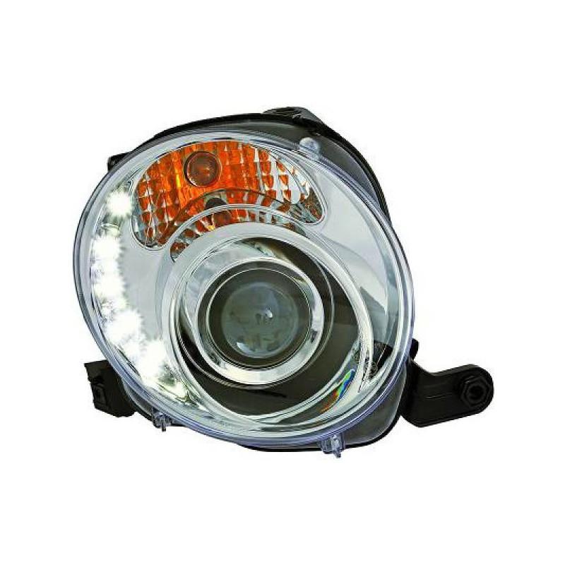 Set fari fanali proiettori anteriori TUNING FIAT 500 2007-2015 cromati con luci DIURNE DRL LED ...