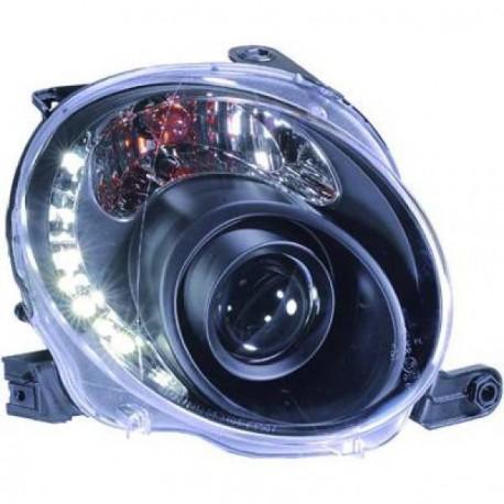 design elegante autorizzazione store Set fari fanali proiettori anteriori TUNING FIAT 500 2007-2015 neri con  luci DIURNE DRL LED disegno a C