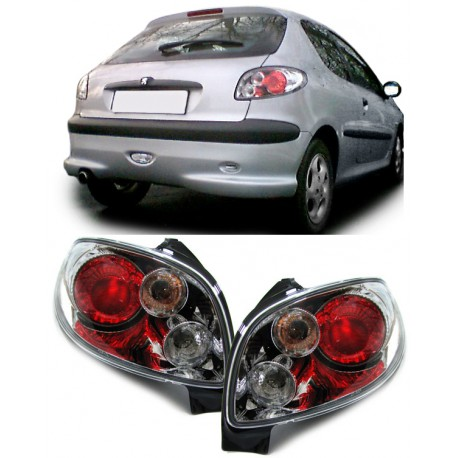Set fari fanali posteriori TUNING per PEUGEOT 206, 1998-2010, 3/5 porte, Lexus cromato
