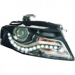 Set fari fanali proiettori anteriori TUNING per AUDI A4, 2007-2011 berlina Avant, neri con luce diurna DRL LED DAYLINE a curva omologata R87
