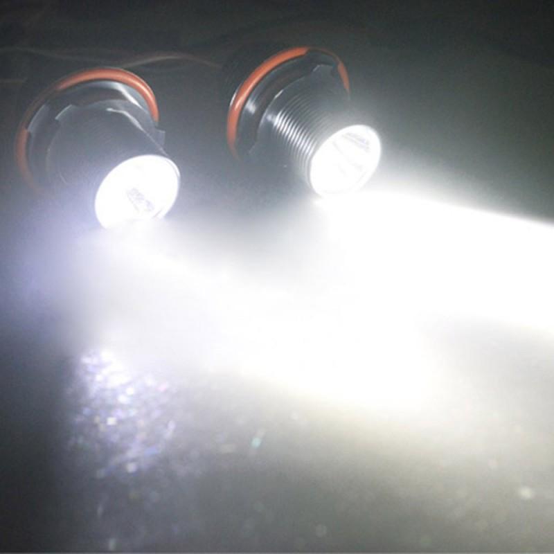 Coppia Lampade Led Bianco 3w Per Anelli Angel Eyes Di Posizione Bmw Serie 1 E87 Serie 5 E39 E60