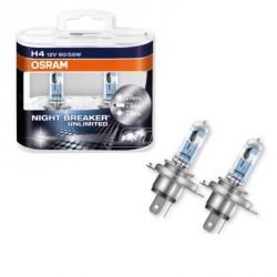OSRAM NIGHT BREAKER UNLIMITED H4 Coppia lampade alogena 110% in più di luce, 20% più bianca - confezione Duobox