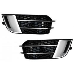 Coppia prese d'aria anteriori coprifendinebbia RS1 design look sportivo tuning per AUDI A1 2010-2015 8X, nido d'ape nere cromate