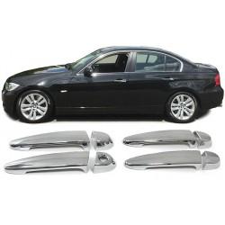 Set 4 coprimaniglie esterne cromate per porte TUNING look cromato per BMW Serie 1 E87 2004-2011 Serie 3 E90 E91 2005-2012 X6 E71