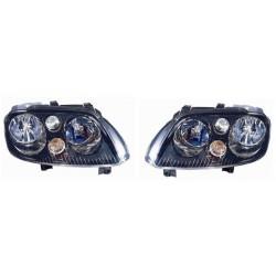 Set fari fanali proiettori anteriori TUNING per VW TOURAN 2003-2006 con motorino regolazione elettrica, fondo nero