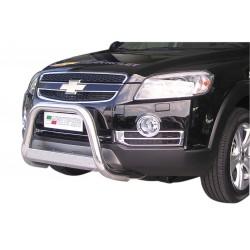 Bullbar anteriore OMOLOGATO CHEVROLET Captiva 2006-2011 acciaio INOX mod Medium con marchio