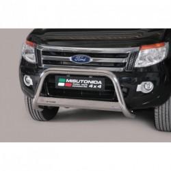Bullbar anteriore OMOLOGATO FORD Ranger dal 2012- acciaio INOX mod Medium con marchio