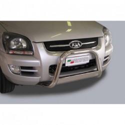 Bullbar anteriore OMOLOGATO KIA Sportage 2004-2008 acciaio INOX mod Medium con marchio