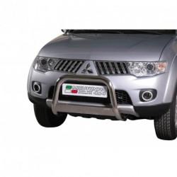 Bullbar anteriore OMOLOGATO MITSUBISHI L200 D.C./Club Cab 2010-2015 acciaio INOX mod Medium con marchio