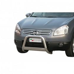 Bullbar anteriore OMOLOGATO NISSAN Qashqai +2 2008-2010 acciaio INOX mod Medium con marchio
