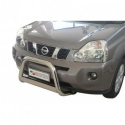 Bullbar anteriore OMOLOGATO NISSAN X-Trail 2007-2010 acciaio INOX mod Medium con marchio