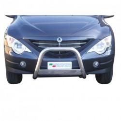 Bullbar anteriore OMOLOGATO SSANGYONG Actyon Sports 2007-2012 acciaio INOX mod Medium con marchio