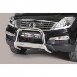 Bullbar anteriore OMOLOGATO SSANGYONG Rexton W 2013- acciaio INOX mod Medium con marchio