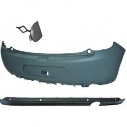 Paraurti posteriore CITROEN C3 2009-04/2013 e restyling 2013-, verniciabile, completo tappo gancio e spoiler sottoparaurti, con fori sensori