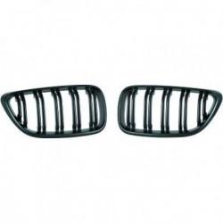 Coppia set griglie reni calandre radiatore TUNING look M per BMW Serie2 coupè cabrio F22 F23 anni 2013 2014 2015 nero doppio listello