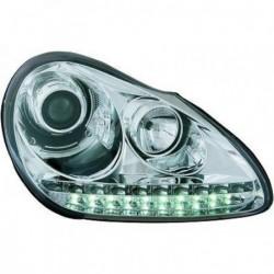 Coppia set fari fanali anteriori TUNING PORSCHE CAYENNE 2003-2007 alogeno H7+H1 cromato luci diurne DRL freccia LED