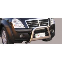 Bullbar anteriore OMOLOGATO SSANGYONG Rexton II 2006 2007 2008 2009 2010 2011 2012 acciaio INOX mod Medium con marchio