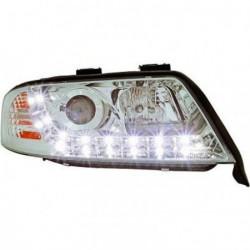 Set fari fanali proiettori anteriori TUNING AUDI A6 1997-2001 cromati, H1+H1 con luci diurne DRL LED DAYLINE
