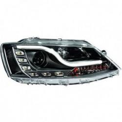 Coppia set fari fanali anteriori TUNING VW VOLKSWAGEN JETTA 2010-2013 neri alogeni luce diurna DRL LED