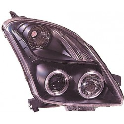 Coppia set fari fanali anteriori TUNING angel eyes SUZUKI SWIFT 2005 2006 2007 2008 2009 2010 neri alogeni H1