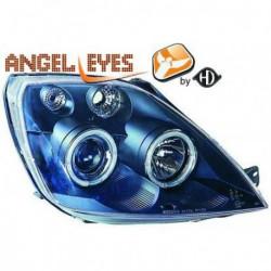 Coppia set fari fanali anteriori TUNING Angel Eyes FORD FIESTA 2002 2003 2004 2005 2006 2007 2008 neri H1 elettrici