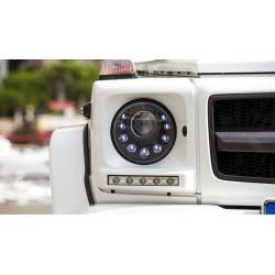 Coppia set fari fanali anteriori TUNING Xenon MERCEDES ClasseG W463 2005-2017 neri D1S lenticolari luce diurna LED alta potenza look Brabus