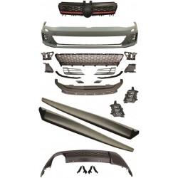 Kit estetico completo TUNING VW GOLF VII 2012-, look GTI, paraurti anteriore estrattore e minigonne, completo, no sensori