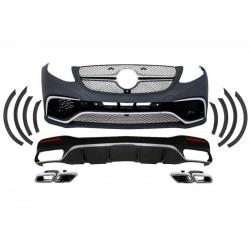 Bodykit kit estetico completo TUNING look GLE 63 AMG per MERCEDES GLE SUV W166 dal 2015- paraurti anteriore posteriore estrattore diffusore finitura cromata