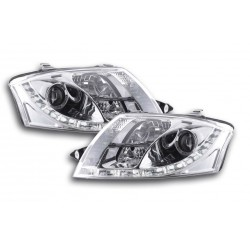 Set fari fanali proiettori anteriori TUNING per AUDI TT tutte 1998-2006 cromati con luci diurne DRL LED DAYLINE omologati R87