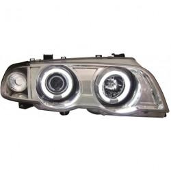 Set fari fanali proiettori anteriori BMW Serie 3 E46 berlina Touring 1998-2001, cromati H1 con anelli ANGEL EYES CCFL alta potenza e freccia