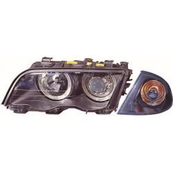 Set fari fanali proiettori anteriori BMW Serie 3 E46 berlina Touring 1998-2001, neri H7 con anelli ANGEL EYES CCFL alta potenza e freccia staccata