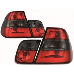 Set fari fanali posteriori TUNING BMW Serie 3 E46 berlina 1998-2001 rosso nero, look restyling 2001