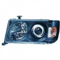 Set fari fanali proiettori anteriori TUNING MERCEDES W124 1993-1995 nero, luce lenticolare, H1+H1+H3 regolazione manuale, co