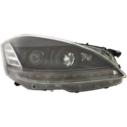 Coppia set fari fanali anteriori TUNING XENON per MERCEDES ClasseS W221 2006 2007 2008 2009 neri luce diurna LED con AFS