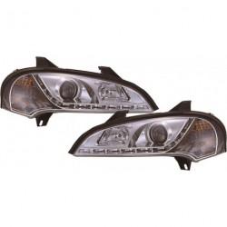 Set fari fanali proiettori anteriori TUNING OPEL TIGRA 1994-2000 cromati luce diurna DRL LED DAYLIGHT