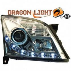 Set fari fanali proiettori anteriori TUNING OPEL VECTRA 2002-2005 e SIGNUM, cromati con luci DIURNE a LED omologata R87