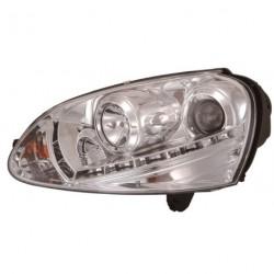 Set fari fanali proiettori anteriori TUNING VW GOLF V 2003-2008 cromati, con luce DIURNA DRL DAYLINE LED omologati R87, alogeni H7+H1