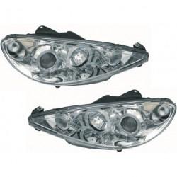 Set fari fanali proiettori anteriori TUNING per PEUGEOT 206, 1998-2008 cromati con anelli ANGEL EYES, vetture H4
