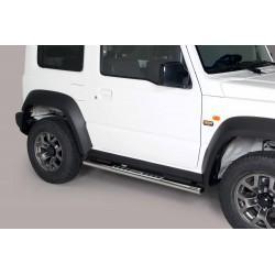 Coppia set pedane protezione sottoporta laterali TUNING SUV SUZUKI JIMNY 2018- acciaio INOX modello Design ovale