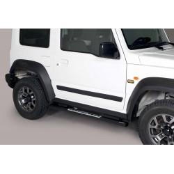 Coppia set pedane protezione sottoporta laterali TUNING SUV SUZUKI JIMNY 2018- acciaio INOX modello Design ovale colore NERO opaco