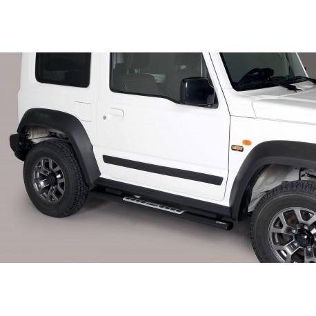Coppia set pedane protezione sottoporta laterali TUNING SUV SUZUKI JIMNY 2018- acciaio INOX modello Design ovale colore NERO opa