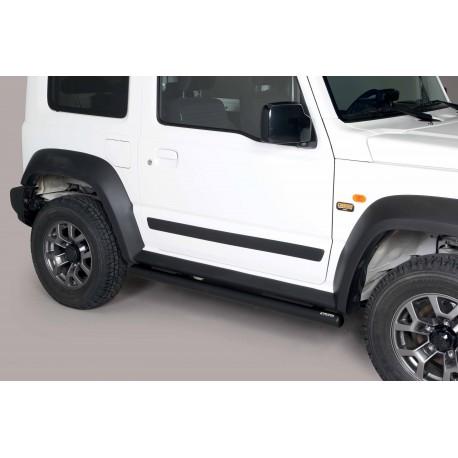 Coppia set pedane tubi protezione sottoporta laterali TUNING SUV SUZUKI JIMNY 2018- acciaio INOX colore NERO opaco