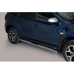 Coppia set pedane protezione sottoporta laterali TUNING SUV DACIA DUSTER 2018- acciaio INOX modello Design ovale anche nero opac