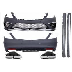 Bodykit kit estetico TUNING completo AMG MERCEDES ClasseS W222 anni 2013 2014 2015 2016 paraurti minigonne griglie scarichi passo lungo look S65 finitura cromata
