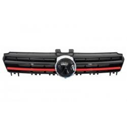 Calandra griglia GTI look sportiva tuning per VW GOLF VII berlina Variant 2012-2017, nera con profilo rosso R-Line