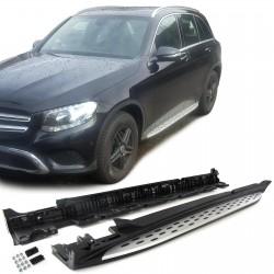 Set pedane TUNING predellini laterali MERCEDES GLC X253 versioni SUV e Coupè 2015- in acciaio e ABS con accessori di montaggio